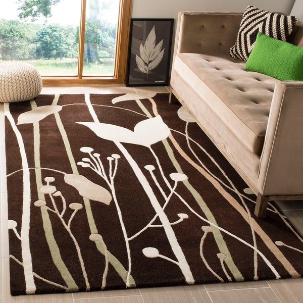 Safavieh Handmade Gardens Dark Brown New Zealand Wool Rug - 3'6 x 5'6
