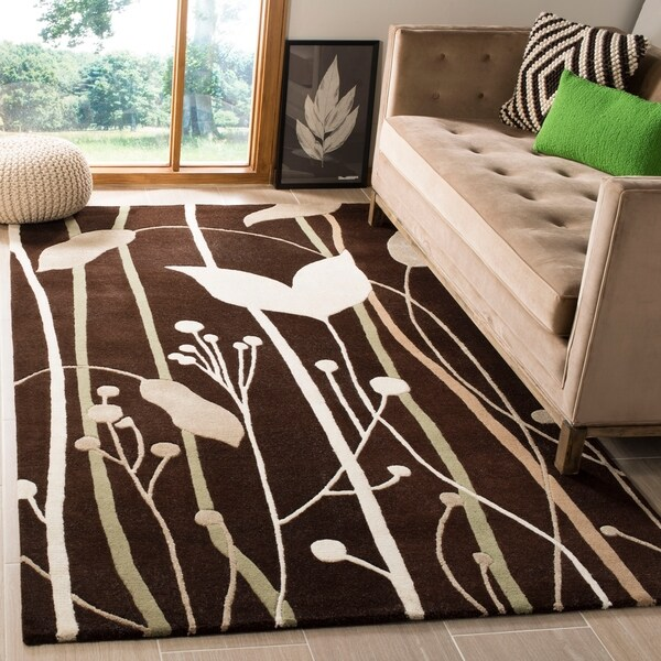 Safavieh Handmade Gardens Dark Brown New Zealand Wool Rug - 7'6 x 9'6