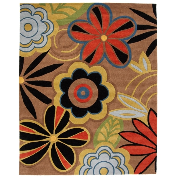 "Safavieh Handmade Flower Power Brown New Zealand Wool Rug - 7'6"" x 9'6"""