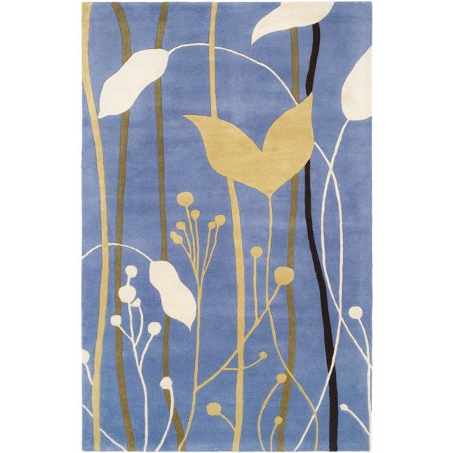 Safavieh Handmade Gardens Blue New Zealand Wool Rug (3'6 x 5'6')