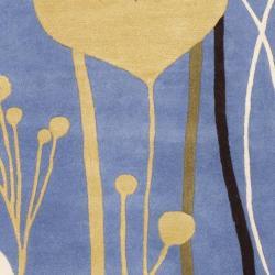 "Safavieh Handmade Gardens Blue Cotton-Canvas New Zealand Wool Rug (7'6"" x 9'6"")"