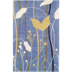 Safavieh Handmade Gardens Blue Cotton-Canvas New Zealand Wool Rug - 7'6' x 9'6' - Thumbnail 0