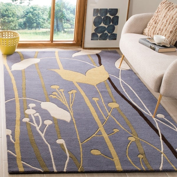 Safavieh Handmade Gardens Blue Cotton-Canvas New Zealand Wool Rug - 7'6' x 9'6'
