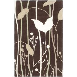 Safavieh Handmade Gardens Dark Brown New Zealand Wool Rug (5'x 8') - 5' x 8' - Thumbnail 0