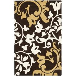 Safavieh Handmade Silhouettes Brown Intricate Floral New Zealand Wool Rug - 7'6 x 9'6 - Thumbnail 0