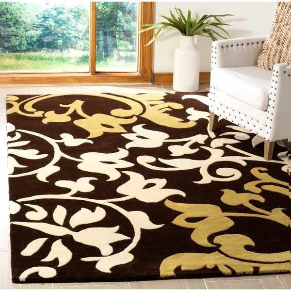 "Safavieh Handmade Silhouettes Brown Intricate Floral New Zealand Wool Rug - 7'-6"" x 9'-6"""