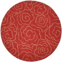 Safavieh Handmade Soho Roses Red New Zealand Wool Rug - 6' x 6' Round