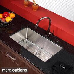 Kraus 30 Inch Undermount Single Bowl 16 Gauge Stainless Steel Kitchen Sink With Faucet And