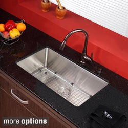 KRAUS 30 Inch Undermount Single Bowl 16 Gauge Stainless Steel Kitchen Sink  With Kitchen Faucet And