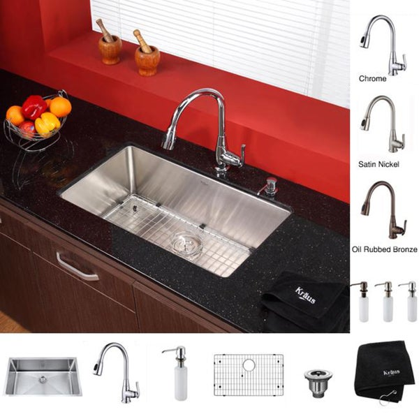 KRAUS 30 Inch Undermount Single Bowl 16 Gauge Stainless Steel Kitchen Sink with Kitchen Faucet and Soap Dispenser in Chrome