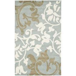 Safavieh Handmade Silhouettes Blue/Grey New Zealand Wool Rug - 7'6 x 9'6 - Thumbnail 0