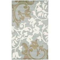 Safavieh Handmade Silhouettes Blue/Grey New Zealand Wool Rug - 7'6 x 9'6