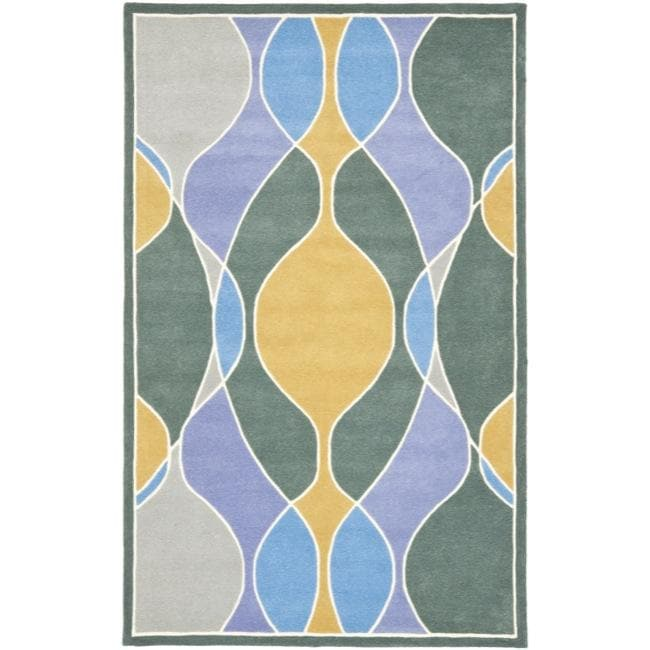Safavieh Handmade Soho Modern Abstract Multicolored Rug - Blue/Grey - 7'6 x 9'6