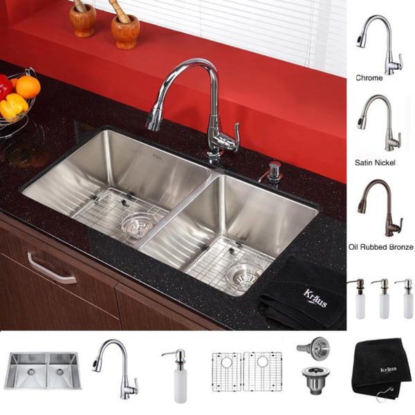 KRAUS 33 Inch Undermount Double Bowl Stainless Steel Kitchen Sink with Kitchen Faucet and Soap Dispenser