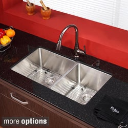 KRAUS 33 Inch Undermount Double Bowl Stainless Steel Kitchen Sink With  Kitchen Faucet And Soap Dispe