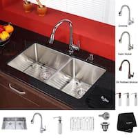 KRAUS 33 Inch Undermount Double Bowl Stainless Steel Kitchen Sink, KPF-2230 Pull Down Kitchen Faucet, Soap Dispenser