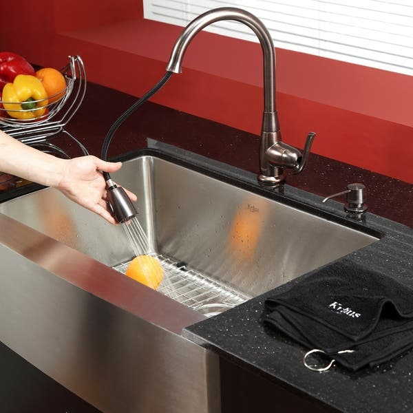 Kraus 3 In 1 Set Farmhouse Kitchen Sink Pulldown Faucet Dispenser Overstock 6173110 Chrome