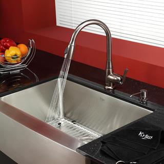 KRAUS 30 Inch Farmhouse Single Bowl Stainless Steel Kitchen Sink with Kitchen Faucet and Soap Dispenser in Satin Nickel