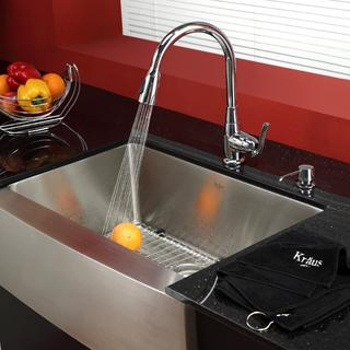 KRAUS 30 Inch Farmhouse Single Bowl Stainless Steel Kitchen Sink with Kitchen Faucet and Soap Dispenser