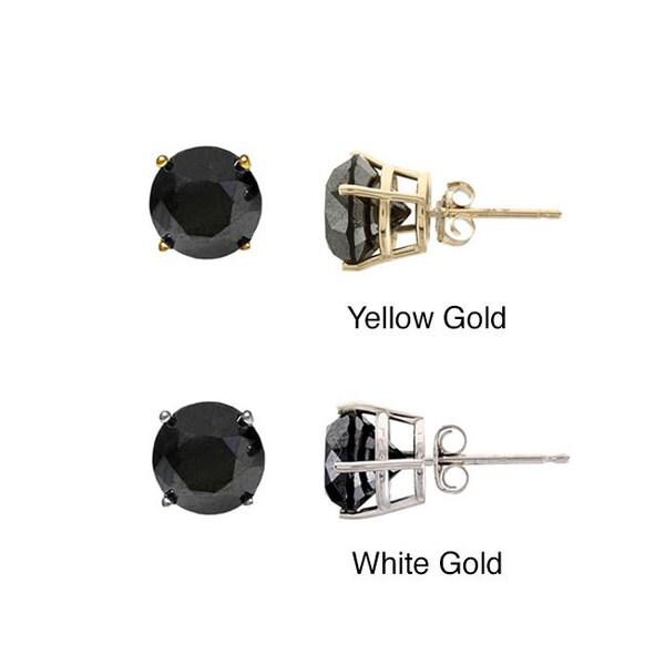 14k Gold 3ct TDW Black Diamond Single Earring