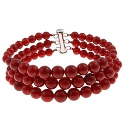 Pearlz Ocean Sterling Silver Red Coral Graduated Bracelet