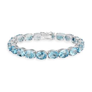 Glitzy Rocks Sterling Silver 44 CTW Swiss Blue Topaz Bracelet