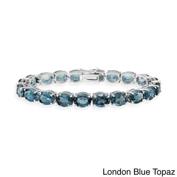 .75ct LADIES AMETHYST /& BLUE TOPAZ 14K LINK CHAIN BRCLT