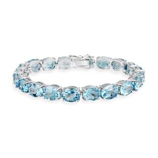 Link to Glitzy Rocks Sterling Silver 44 CTW Blue Topaz Bracelet Similar Items in Bracelets