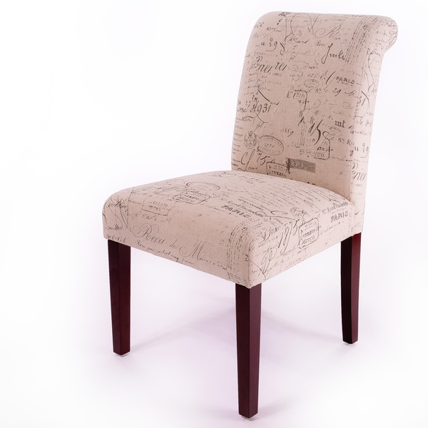 Beige Printed Linen Dining Chairs (Set Of 2)