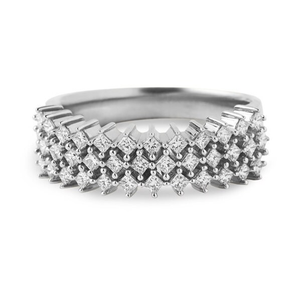 Montebello 14k White Gold 1/2ct TDW Princess-cut Pave Diamond Band (H-I, I2)