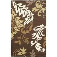 Safavieh Handmade Soho Bontanical Brown New Zealand Wool Rug - 7'6 x 9'6