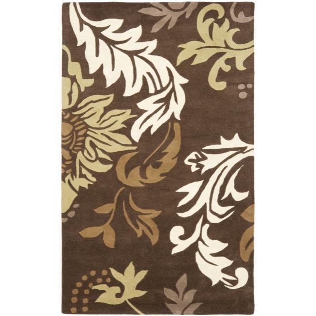 Safavieh Handmade Soho Bontanical Brown Wool Rug (5' x 8')