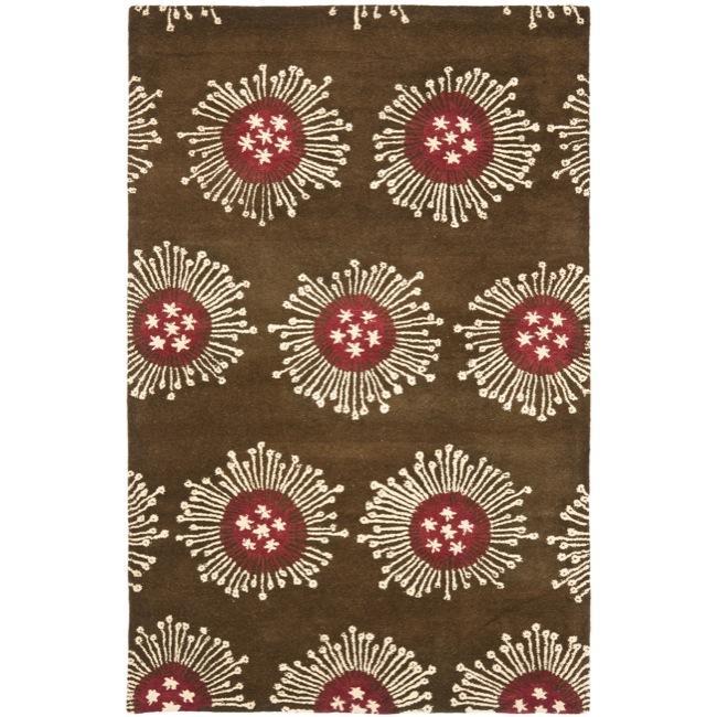 Safavieh Handmade Soho Celebrations Brown New Zealand Wool Rug - 7'6 x 9'6