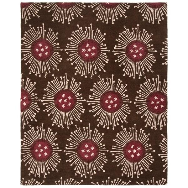 "Safavieh Handmade Soho Celebrations Brown New Zealand Wool Rug - 7'6"" x 9'6"""