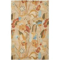 Safavieh Handmade Soho Flora Beige New Zealand Wool Rug - 7'6 x 9'6