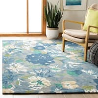 "Safavieh Handmade Soho Botanical Blue New Zealand Wool Rug - 3'-6"" x 5'-6"""