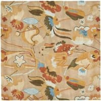 Safavieh Handmade Soho Flora Beige New Zealand Wool Rug - 6' x 6' Square