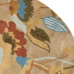 Safavieh Handmade Soho Flora Beige New Zealand Wool Rug (6' Round) - Thumbnail 1