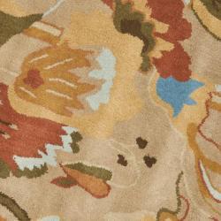 Safavieh Handmade Soho Flora Beige New Zealand Wool Rug (6' Round) - Thumbnail 2