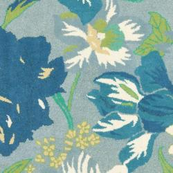 Safavieh Handmade Soho Botanical Blue New Zealand Wool Rug (6' Square) - Thumbnail 2