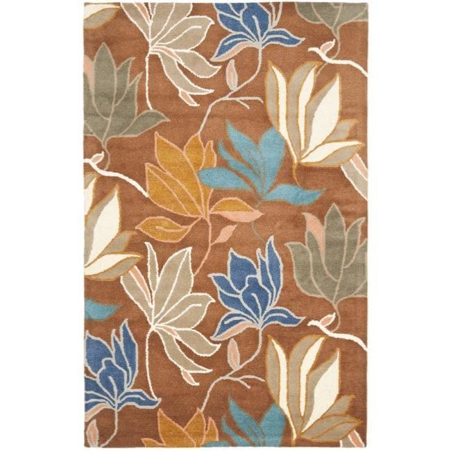 Safavieh Handmade Soho Lakeside Brown New Zealand Wool Rug - 7'6 x 9'6
