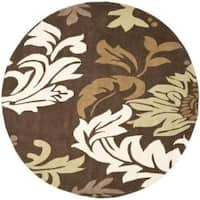 Safavieh Handmade Soho Bontanical Brown New Zealand Wool Rug - 6' x 6' Round