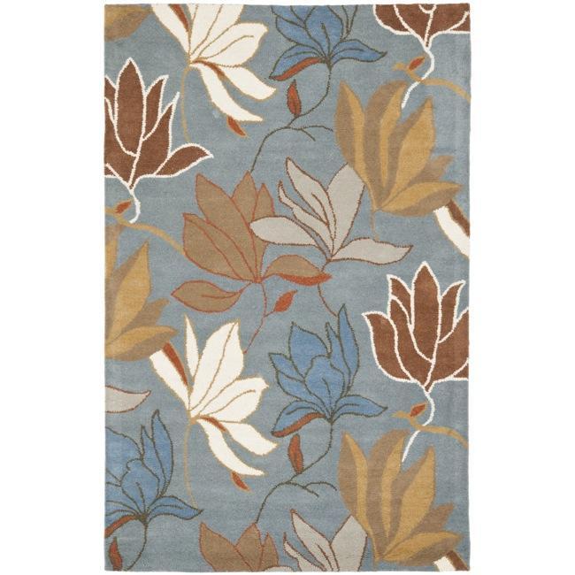 Safavieh Handmade Soho Lakeside Blue New Zealand Wool Rug (7'6 x 9'6)