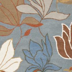 Safavieh Handmade Soho Lakeside Blue New Zealand Wool Rug (7'6 x 9'6) - Thumbnail 2