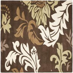 Safavieh Handmade Soho Bontanical Brown New Zealand Wool Rug (6' Square)
