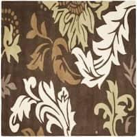 Safavieh Handmade Soho Bontanical Brown New Zealand Wool Rug - 6' x 6' Square