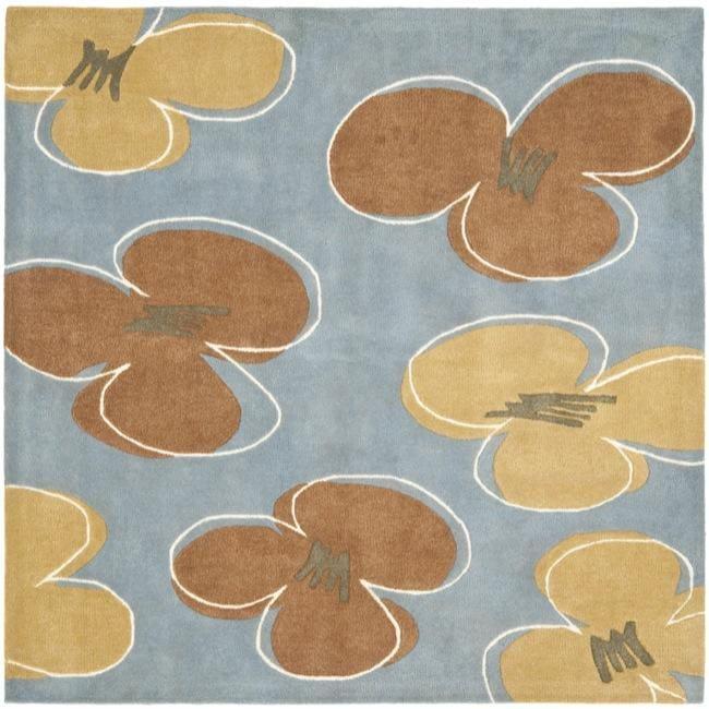 Safavieh Handmade Soho Daisies Blue New Zealand Wool Rug (6' Square)