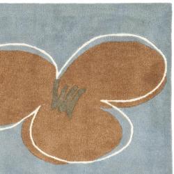 Safavieh Handmade Soho Daisies Blue New Zealand Wool Rug (6' Square) - Thumbnail 1