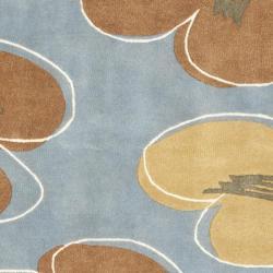 Safavieh Handmade Soho Daisies Blue New Zealand Wool Rug (6' Square) - Thumbnail 2