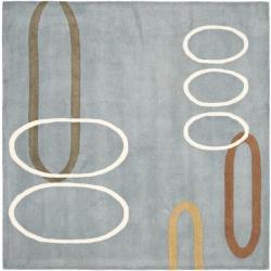 Safavieh Handmade Soho Modern Abstract Blue Wool Rug (6' Square)